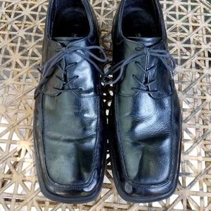 Alfani Black Leather Square Toe Shoes Sz 11 Italy